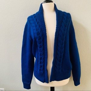 VINTAGE handmade in Hong Kong blue knitted sweater